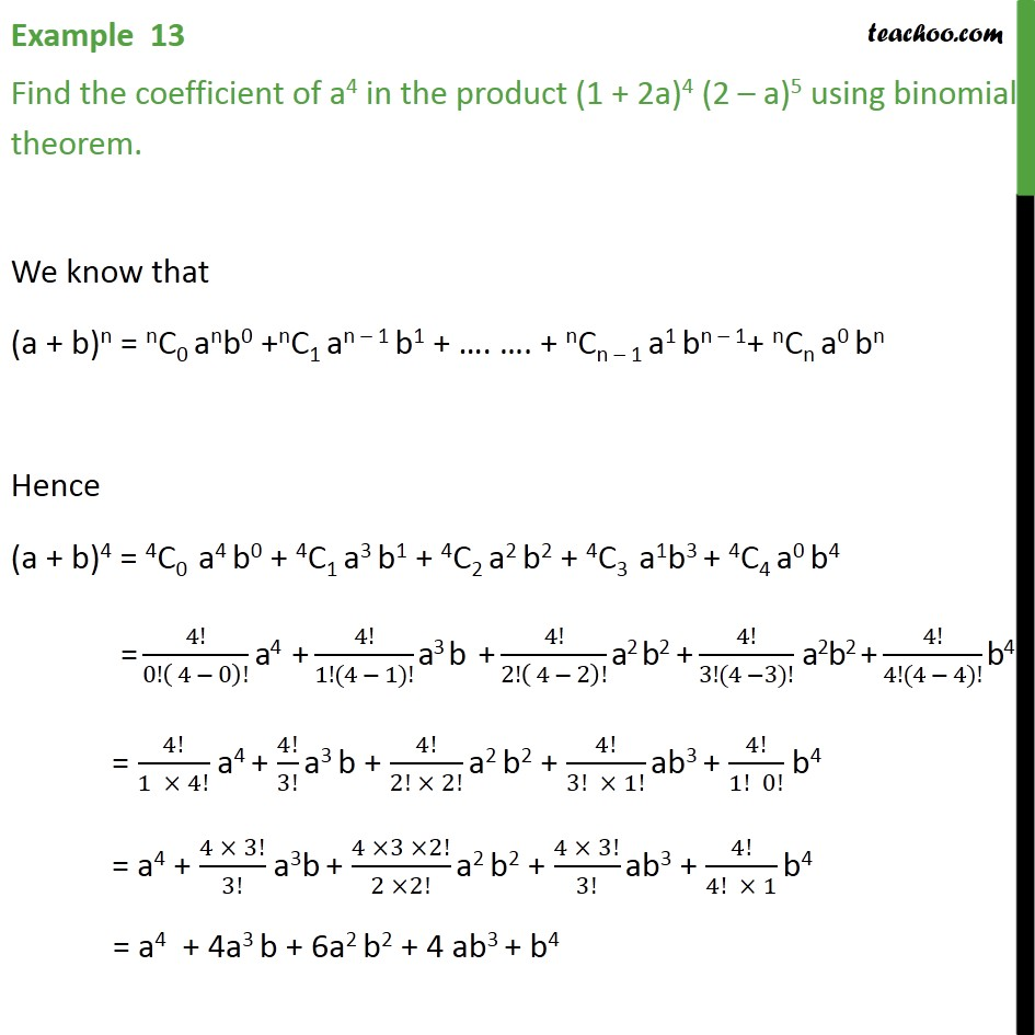 Example 13 - Find coefficient of a4 in product (1 + 2a)4 (2 - a)5 - Coefficient