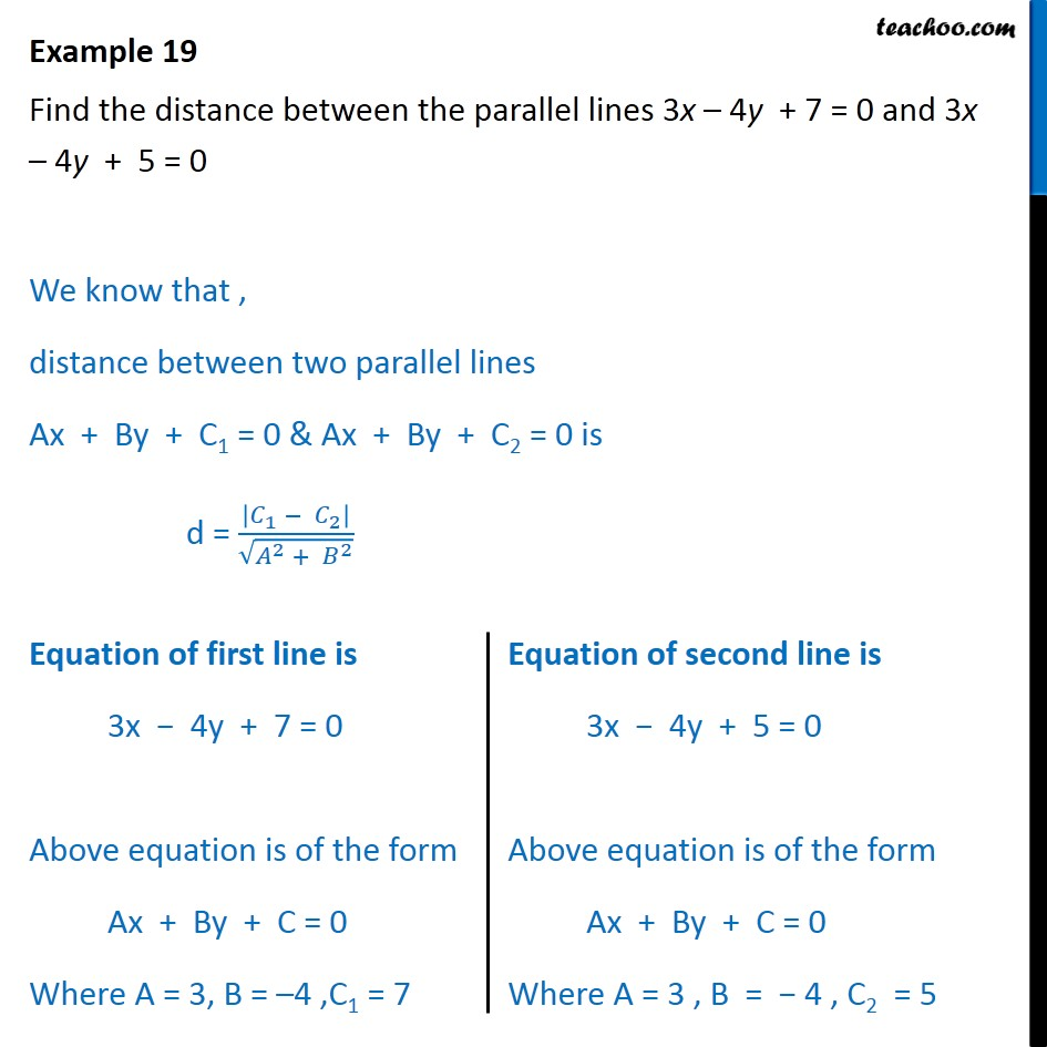 Example 19 - Find distance between parallel lines 3x-4y+7=0 - Distance - Between two parallel lines