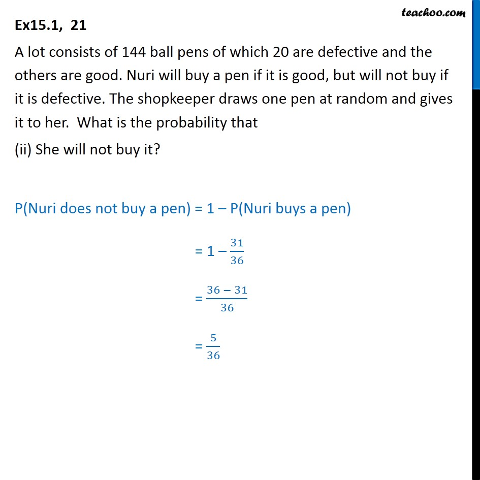Ex 15.1, 21 - Chapter 15 Class 10 Probability - Part 2