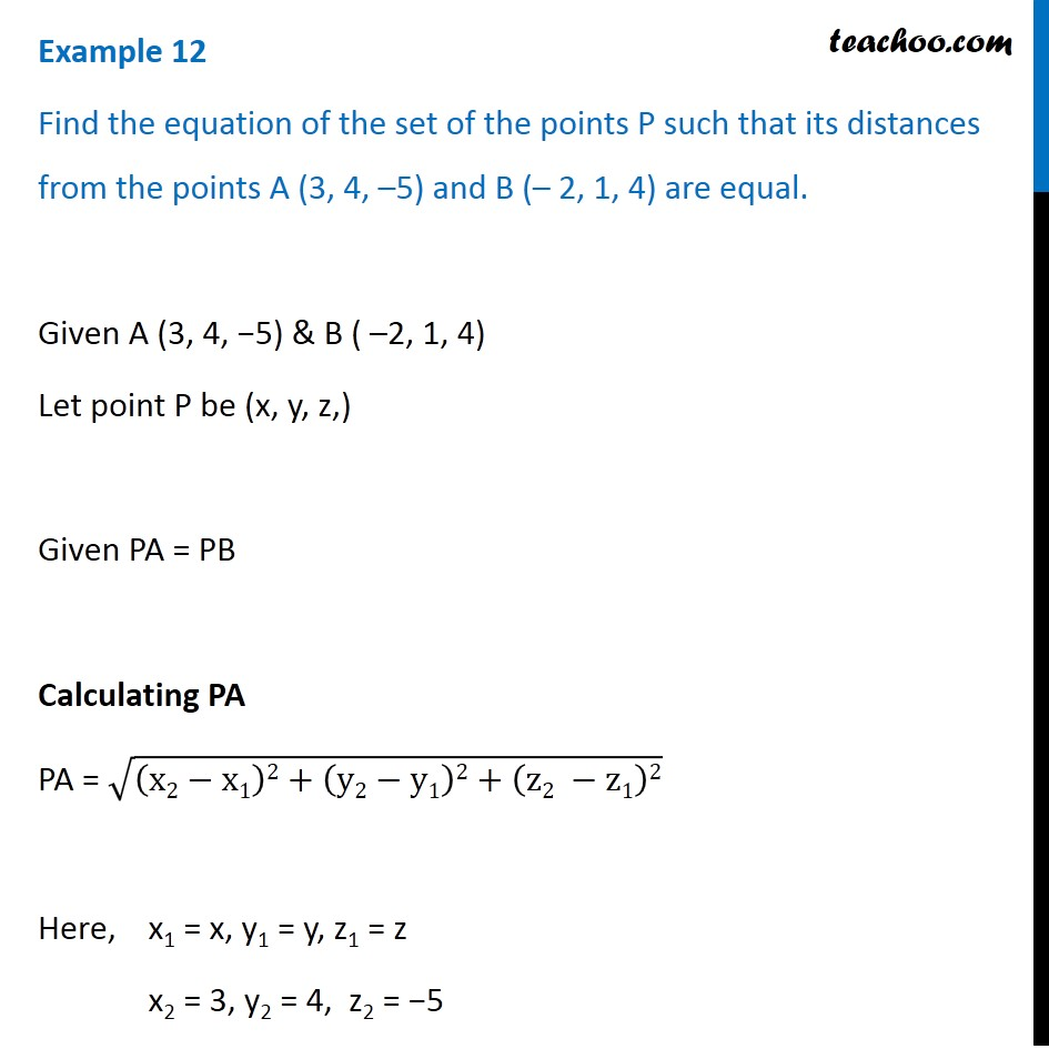 Example 12 - Find equation of set of points P such that distances