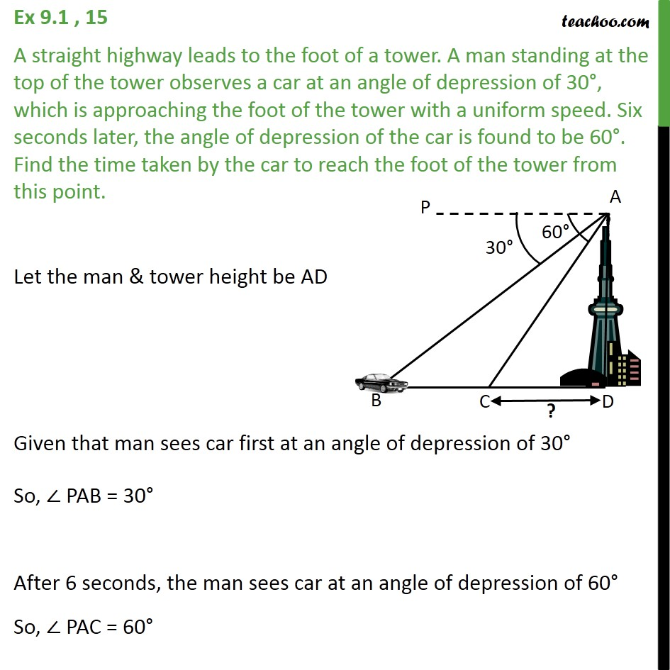 Ex 9.1, 15 - A straight highway leads to foot of a tower - Questions easy to difficult