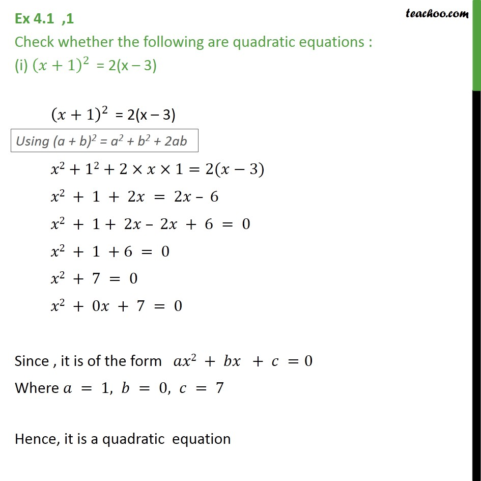 Ex 4.1, 1 - Check whether following are quadratic equations - Ex 4.1