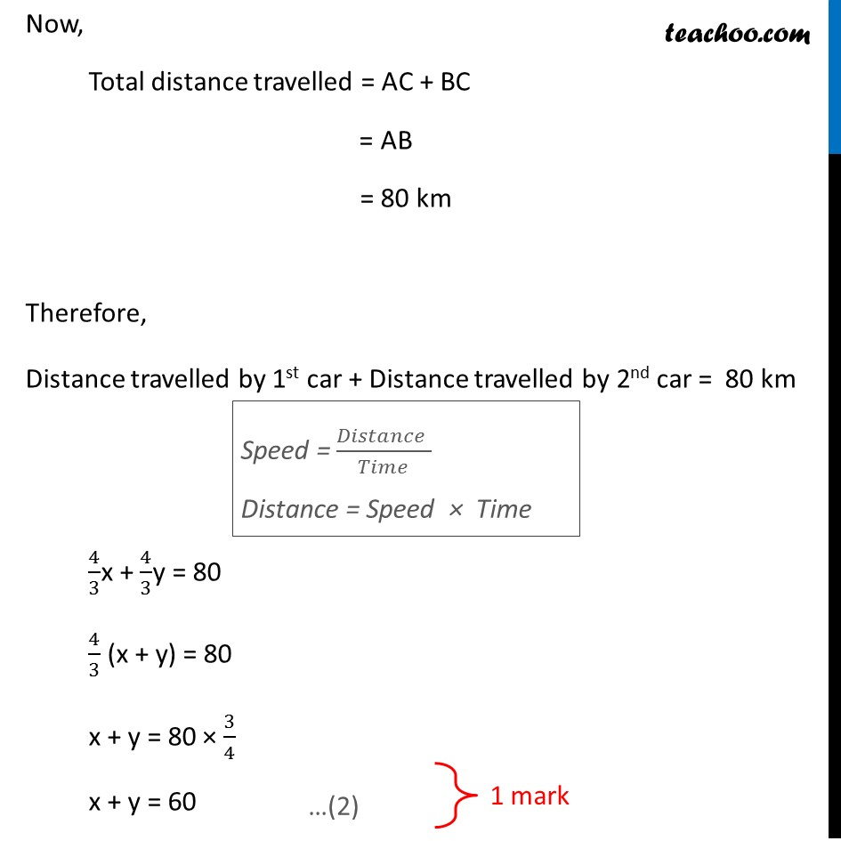 Question 15 - Places A and B are 80 km apart from each other