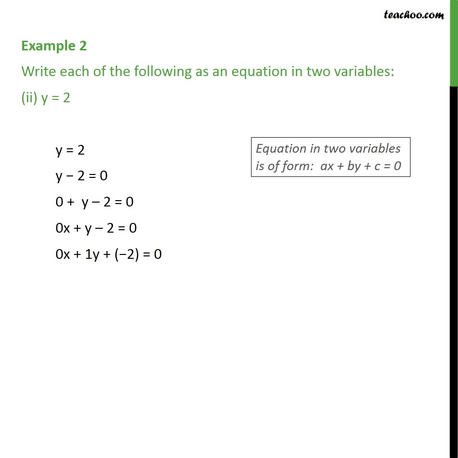 Example 2 - Chapter 4 Class 9 Linear Equations in Two Variables - Part 2