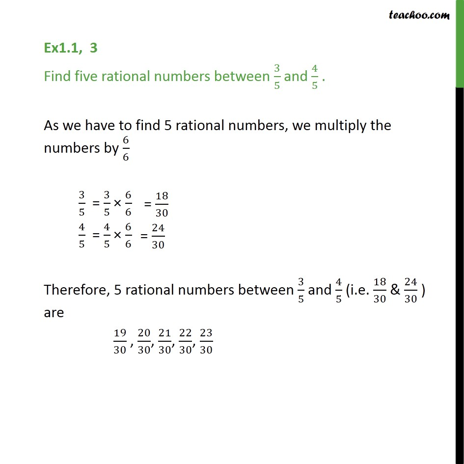 Ex 1.1,3 - Find five rational numbers between 3/5 and 4/5 - Finding rational number between two numbers