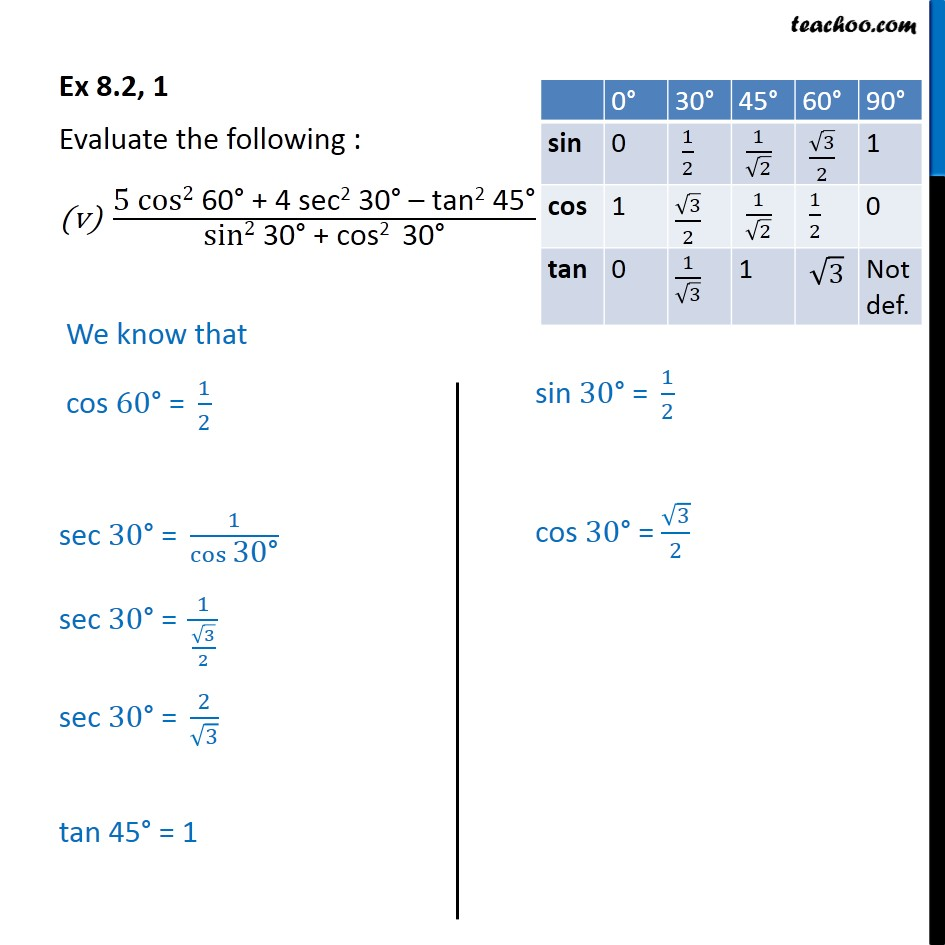 Solving Ex 8.2,1 (v) 5 cos^2 60 + 4 sec^2 30 - tan^2 45 / sin^2 30 cos^2 30 - with answer and method - Part 1