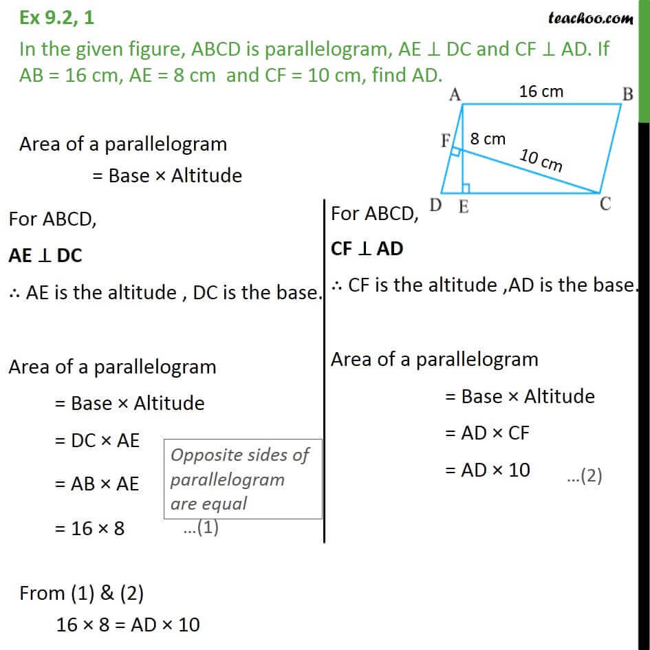 1 Ex 9.2, 1 - In given figure, ABCD is parallelogram.jpg