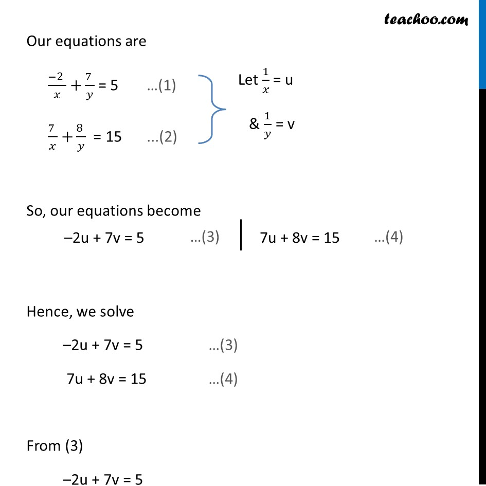 Ex 3.6, 1 (v) and (vi) - Chapter 3 Class 10 Pair of Linear Equations in Two Variables - Part 2