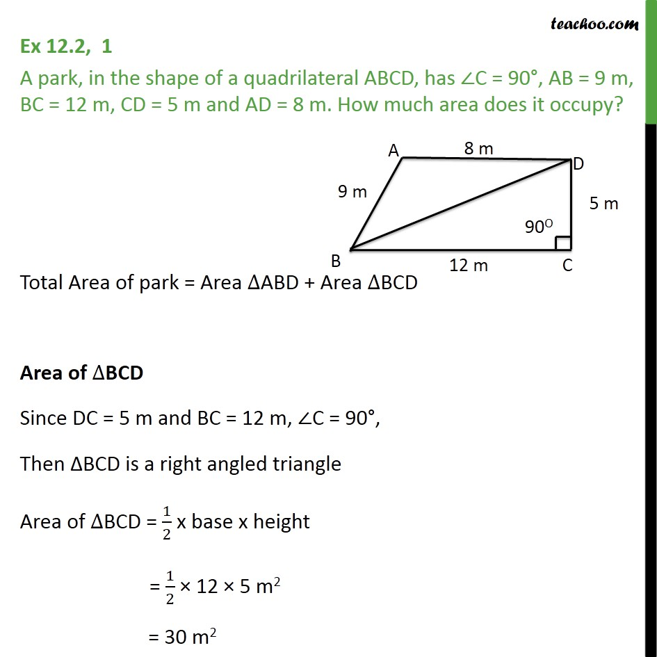 Ex 122 1 a park in shape of a quadrilateral abcd ex 122 ccuart Images