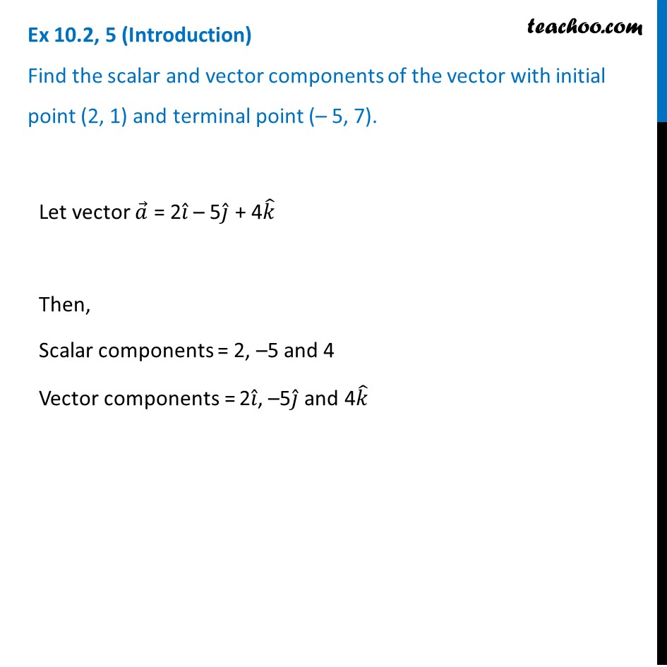 Ex 10.2, 5 - Find scalar and vector components of vector with initial