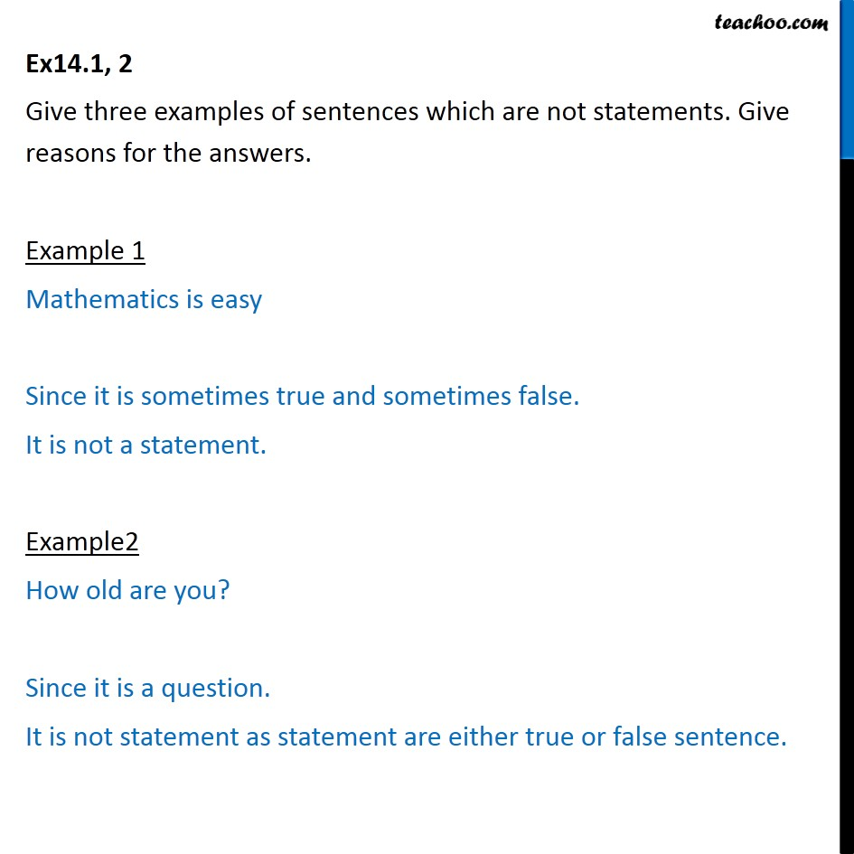 Ex 14.1, 2 - Give 3 examples of sentences which are not statements - Statements