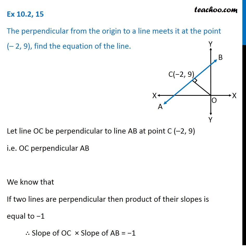 Ex 10.2, 15 - Perpendicular from origin to a line at (-2, 9)
