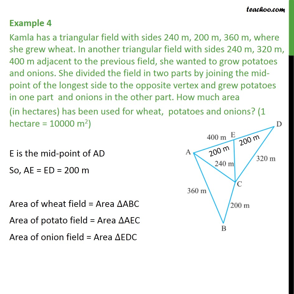 Example 4 - Kamla has a triangular field with sides 240 m - Examples