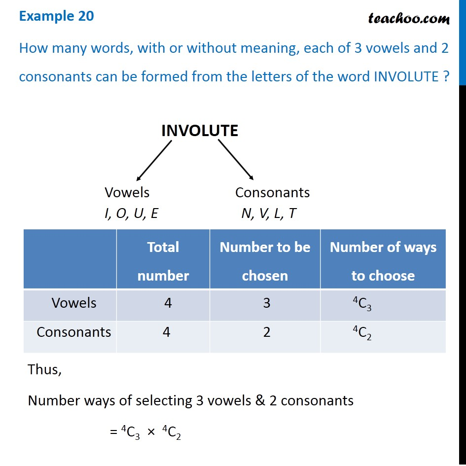 Example 20 - How many words each of 3 vowels and 2 consonants