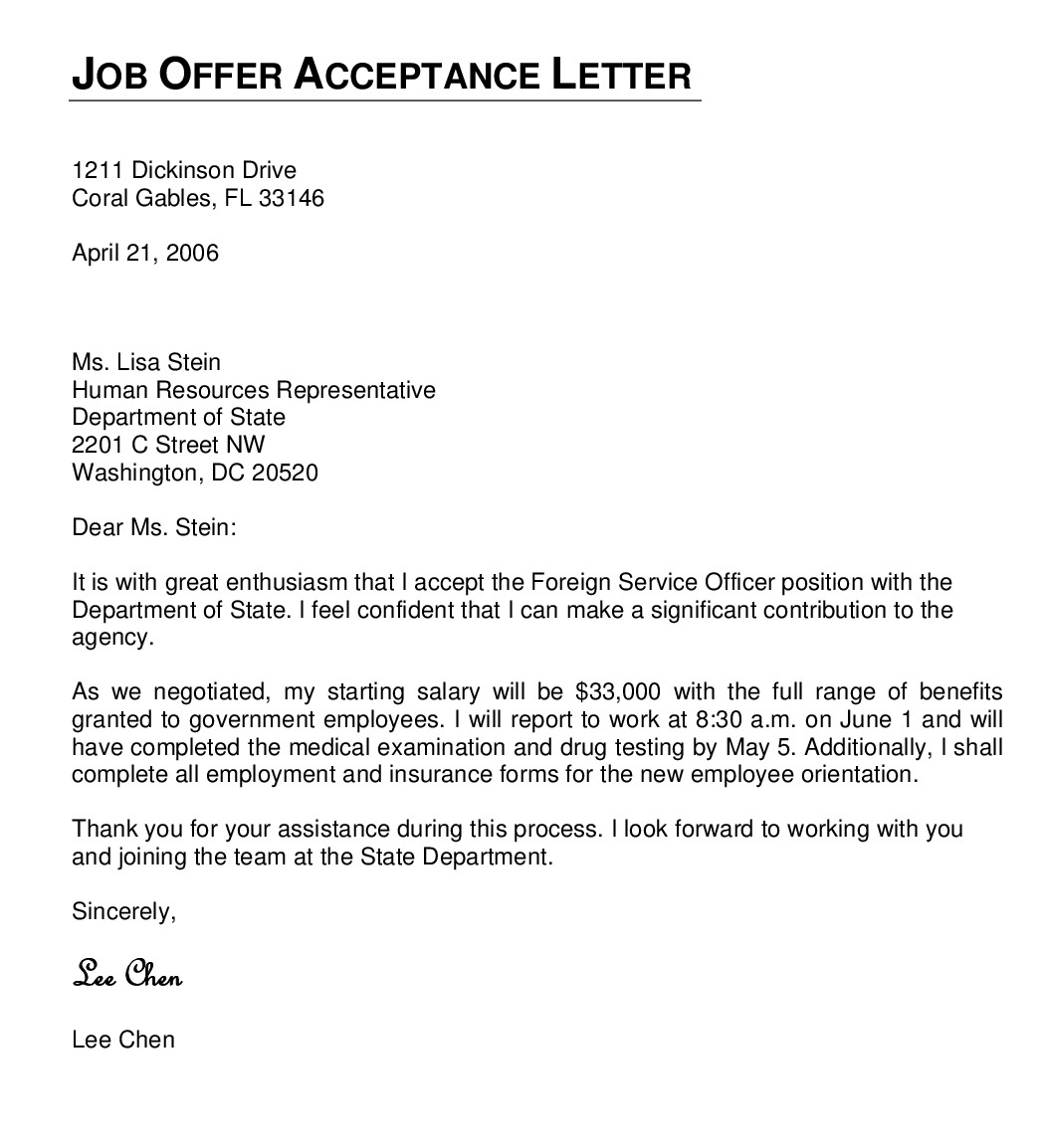 job offer letter offer letters amp appointment letter and business 13353 | job offer acceptance letter format 001