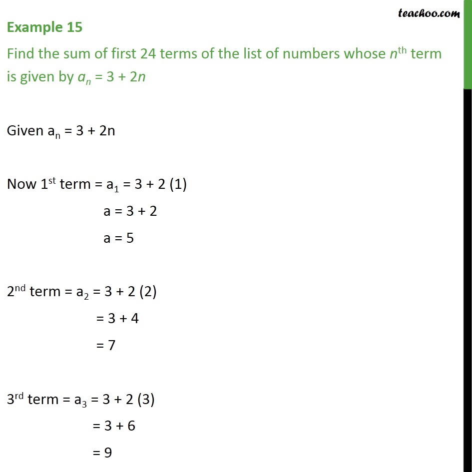 Example 15 - Find sum of first 24 terms, an = 3 + 2n  - Examples