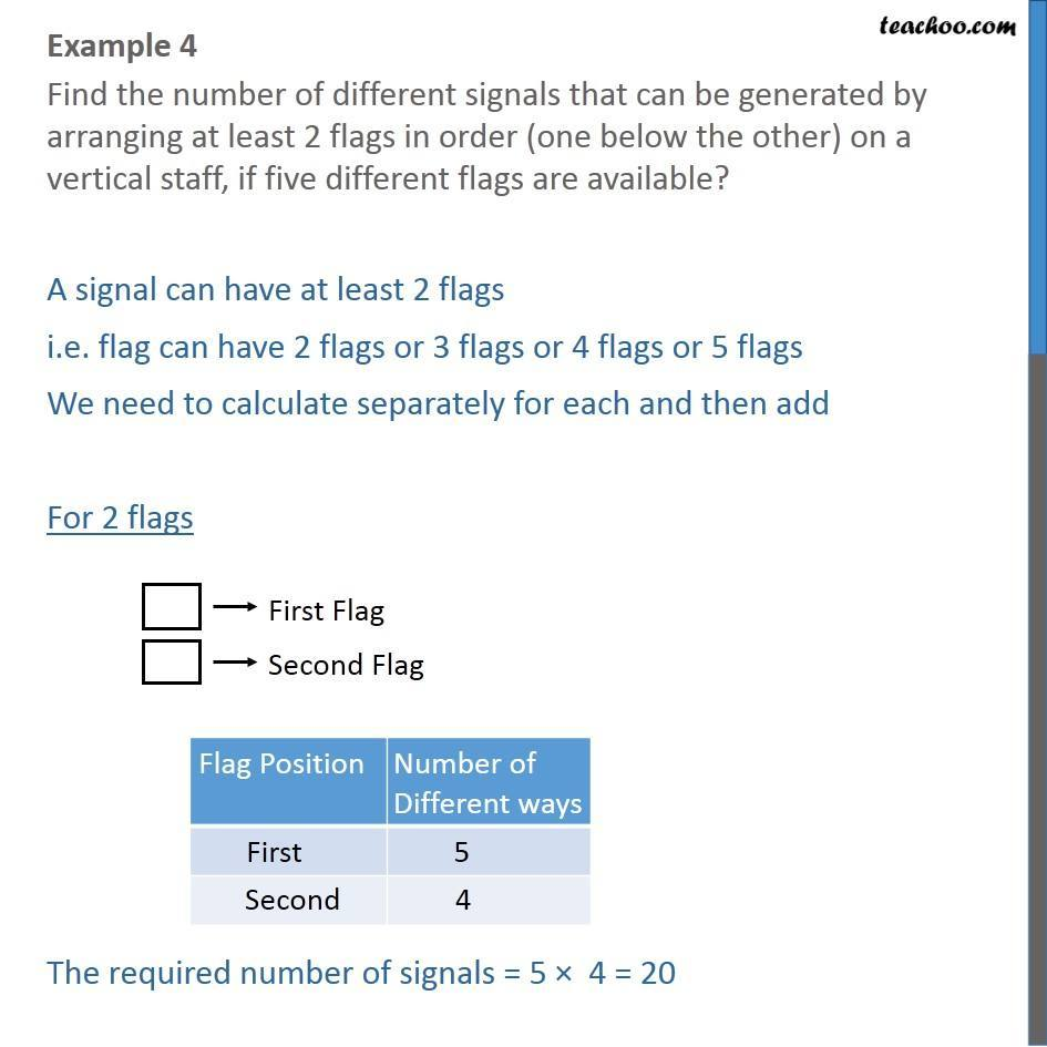 Example 4 - Find number of different signals at least 2 flags - Fundamental principal of counting