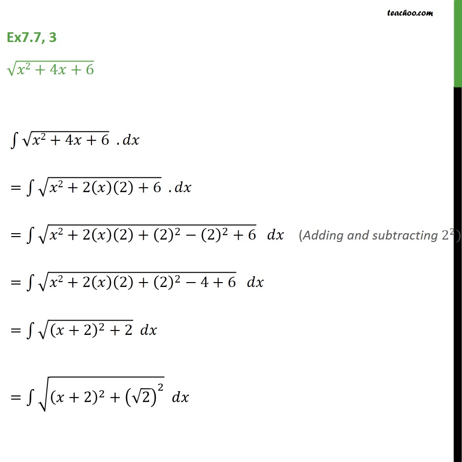 Ex 7.7, 3 - Integrate root x2 + 4x + 6 - Chapter 7 NCERT - Integration by specific formulaes - Formula 7