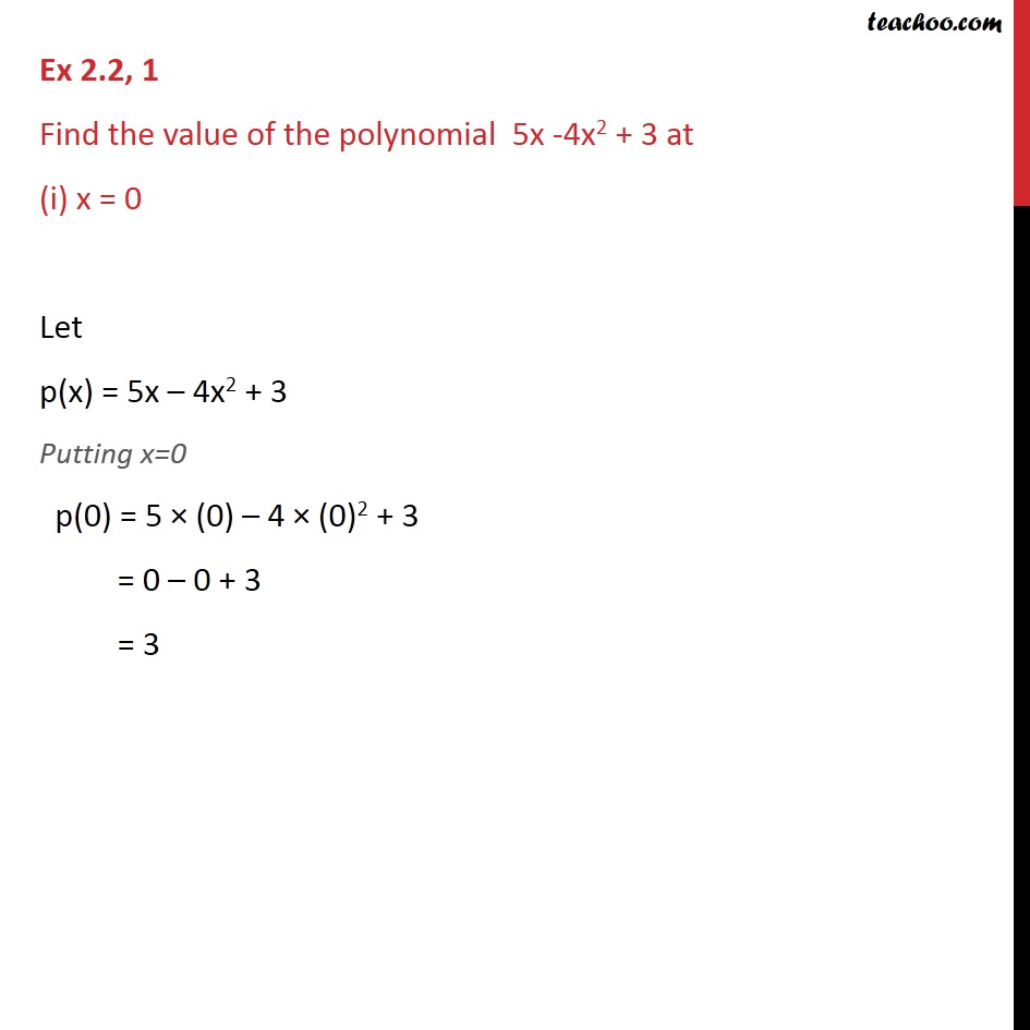 Ex 2.2, 1 - Find value of polynomial 5x - 4x2 + 3 at - Value of a polynomial at a given point