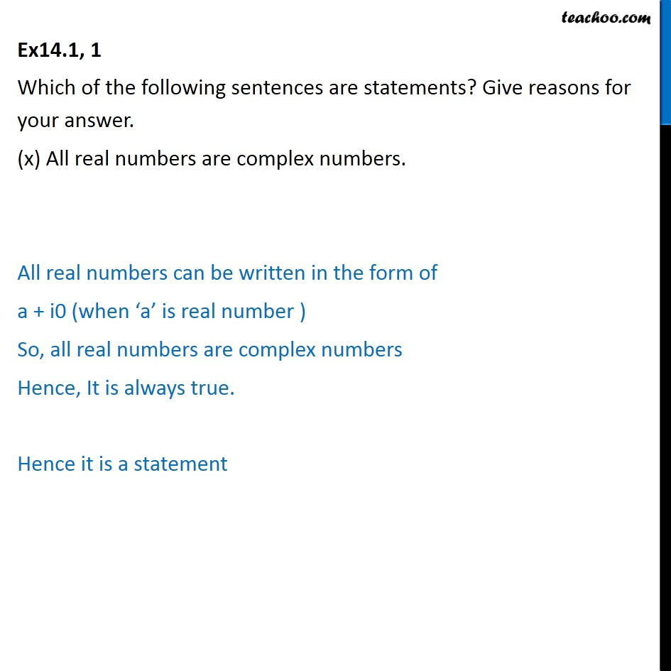 Ex 14.1,  1 - Chapter 14 Class 11 Mathematical Reasoning - Part 10