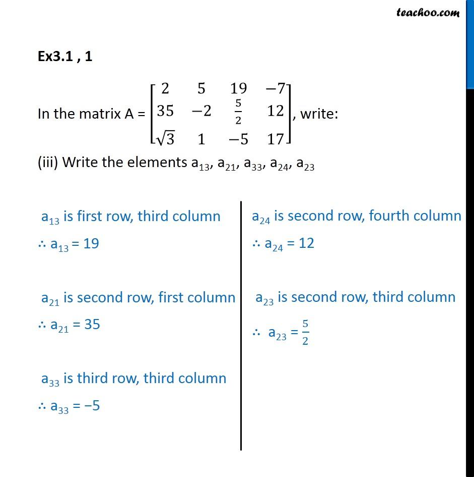 Ex 3.1, 1 - Chapter 3 Class 12 Matrices - Part 3