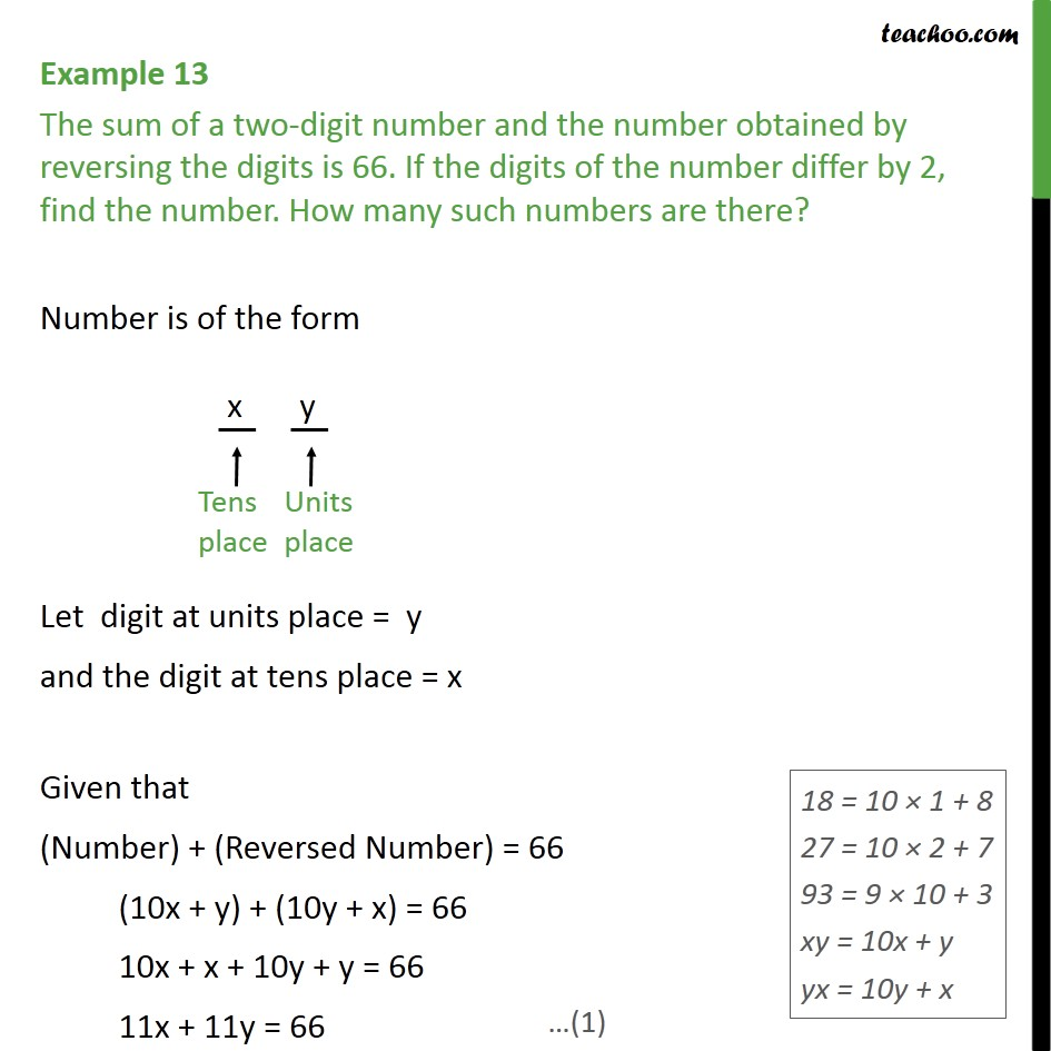 Example 13 - The sum of a two-digit number and number - Elimination