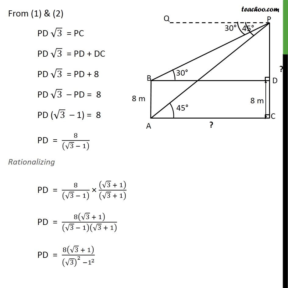 Example 6 - The angles of depression of top and bottom - Examples
