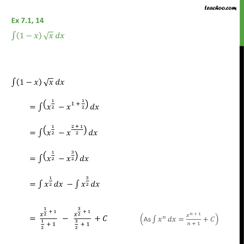 Ex 7.1, 14 - Integrate (1 - x) root(x) dx - Chapter 7 - Ex 7.1