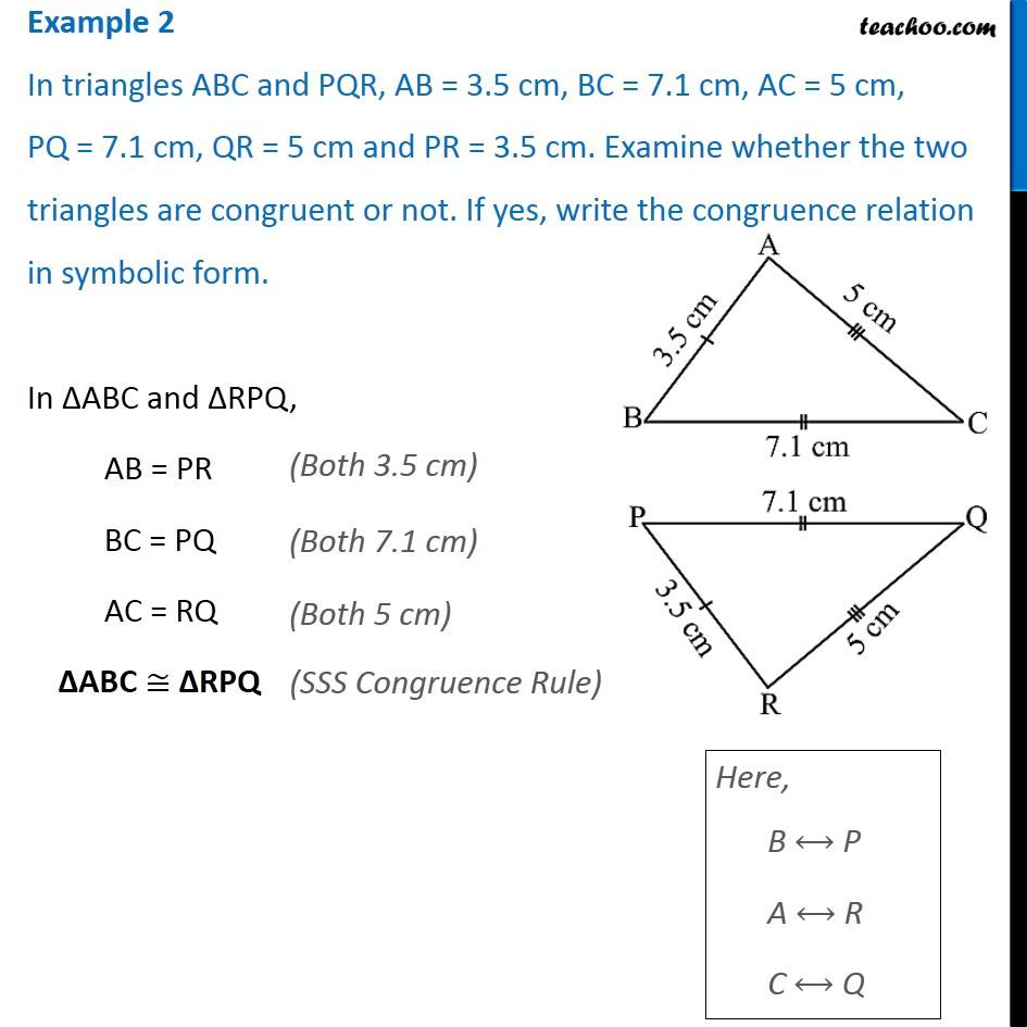 Example 2 - In triangles ABC and PQR, AB = 3.5 cm, BC = 7.1
