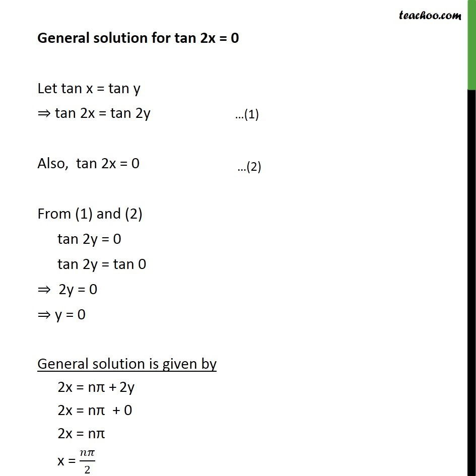Solving Ex 3.4, 8 Class 12  - Let tan x = tan y, tan 2x = tan 2y. Also, tan 2x = 0. From (1) and (2)