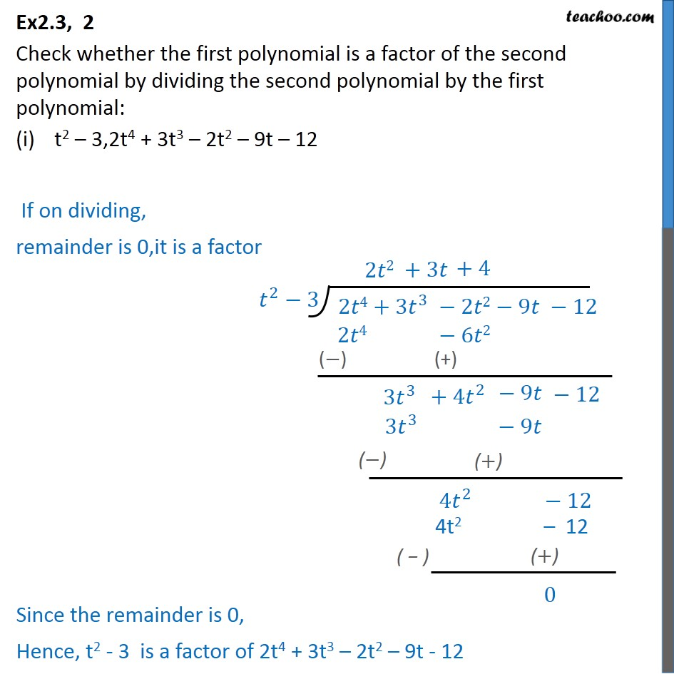 Ex 2.3, 2 - Check whether first polynomial is a factor of - Ex 2.3