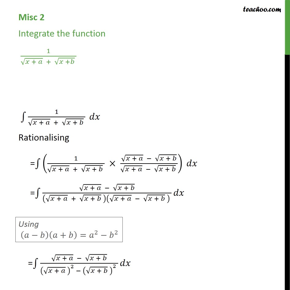 Misc 2 - Integrate 1/root x+a + root x+b - Class 12 - Using Formulaes