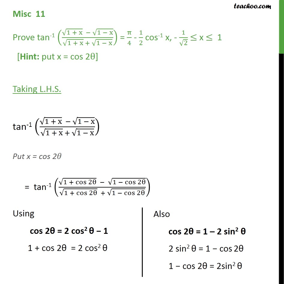 Misc 11 - Chapter 2 Class 12 Inverse Trigonometry - tan-1 - Not clear how to approach