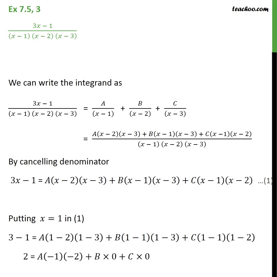 Ex 7.5, 3 - Integrate 3x - 1 / (x - 1) (x - 2) (x - 3) - Integration by partial fraction - Type 3