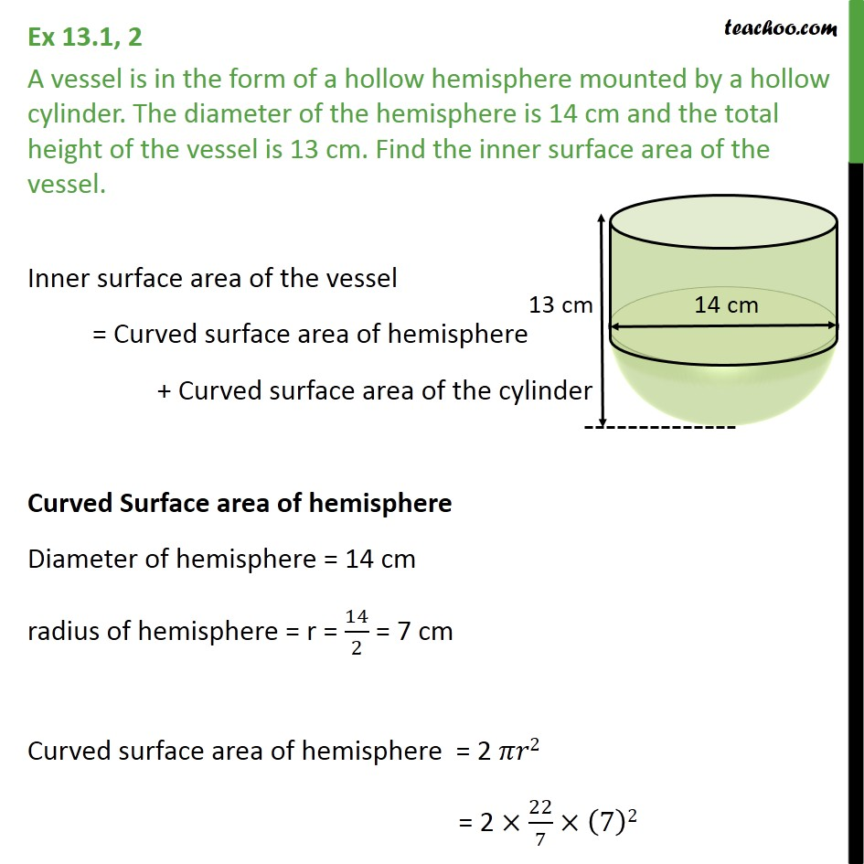 Ex 13.1, 2 - A vessel is in form of a hollow hemisphere mounted - Surface Area - Added