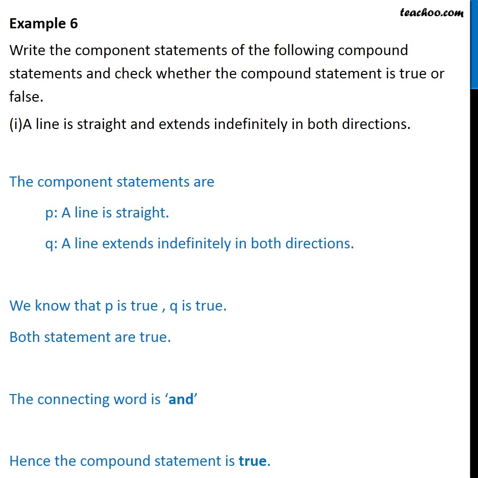 Example 6 - Write the component statements of compound - Examples