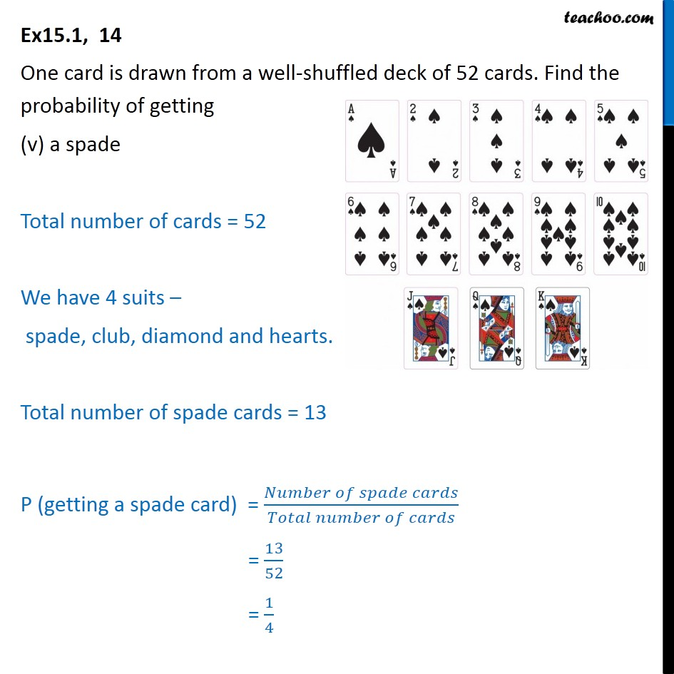 total spade card  Ex 7.7, 74 - One card is drawn from a eck of 7 cards - Ex 7.7
