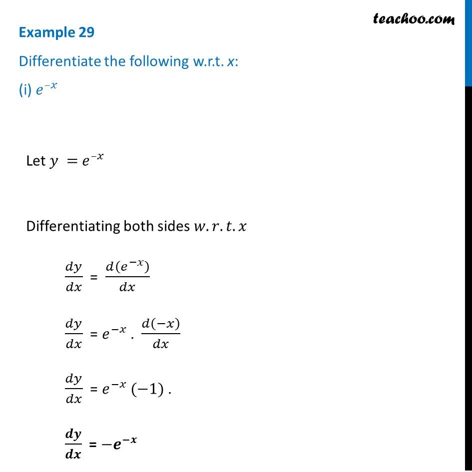 Example 29 - Differentiate (i) e^-x (ii) sin (log x) (iii) cos^-1 e^x