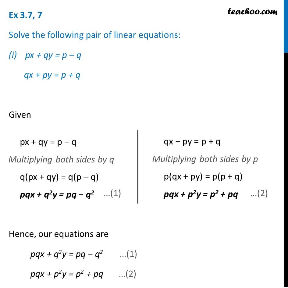 Ex 3.7, 7 (Optional) - Solve the pair of linear equations - teachoo