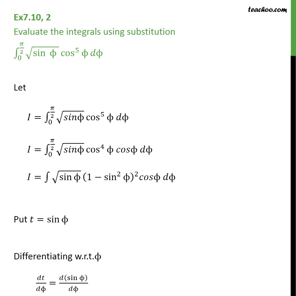 Ex 7.10, 2 - Evaluate using substitution: root sin cos 5 - Definate Integration - By Formulae