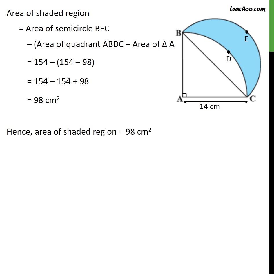 Ex 12.3, 15 - ABC is a quadrant of a circle of radius 14 cm