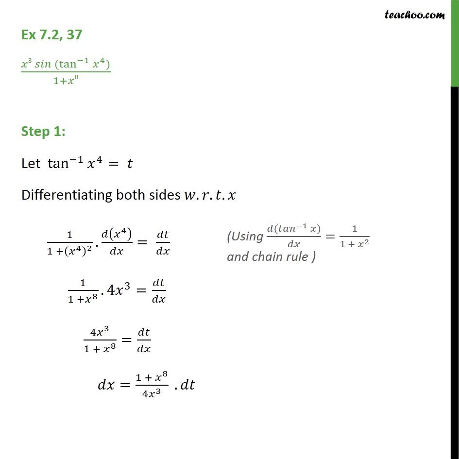 Ex 7.2, 37 - Integrate x3 sin (tan-1 x4) / 1 + x8 - Ex 7.2