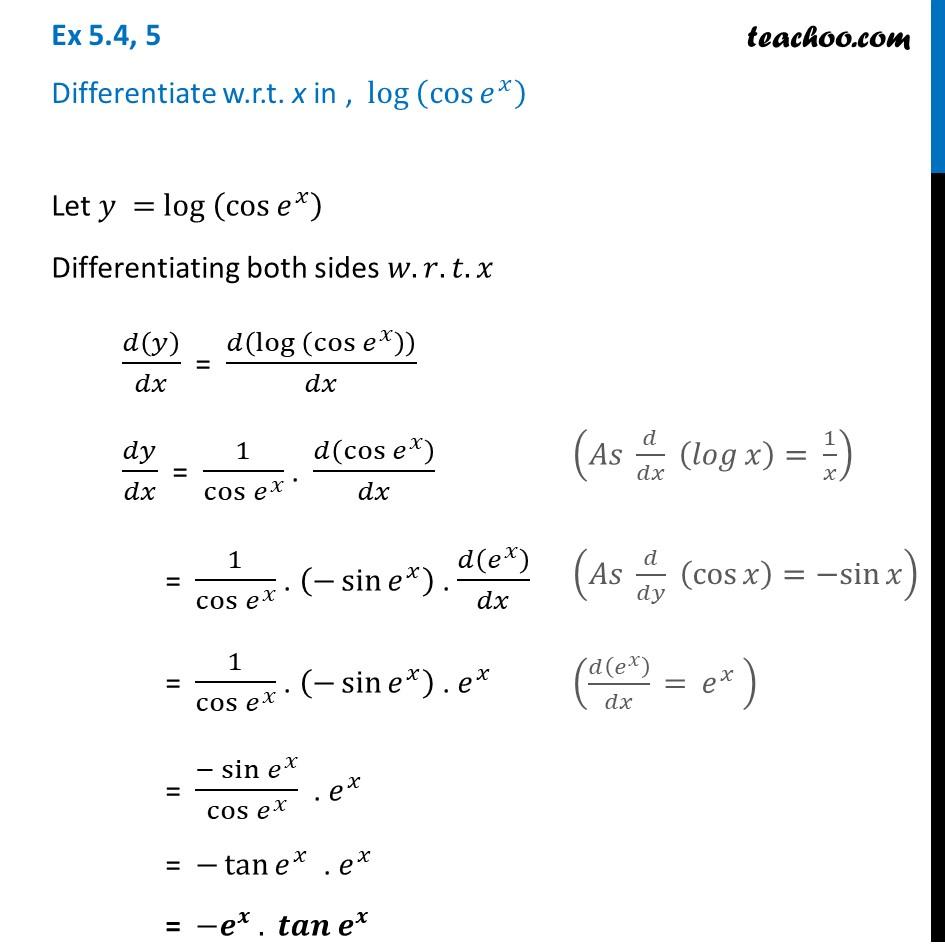 Ex 5.4, 5 - Differentiate log (cos e^x) - Teachoo - Ex 5.4
