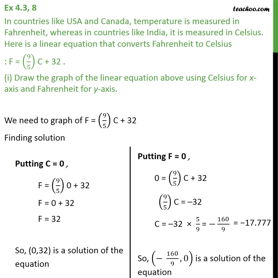 Ex 4.3, 8 - In countries like USA & Canada, temperature - Graph of linear equations