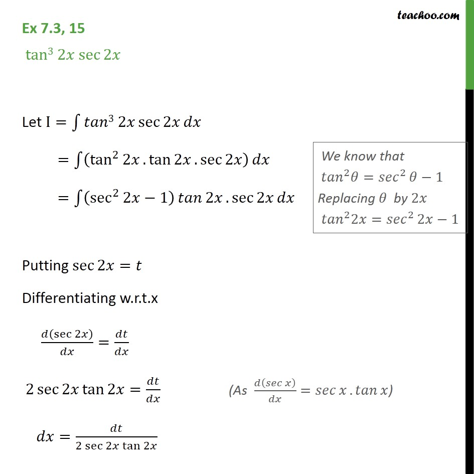 Ex 7.3, 15 - Integrate tan3 2x sec 2x - Class 12 NCERT - Ex 7.3