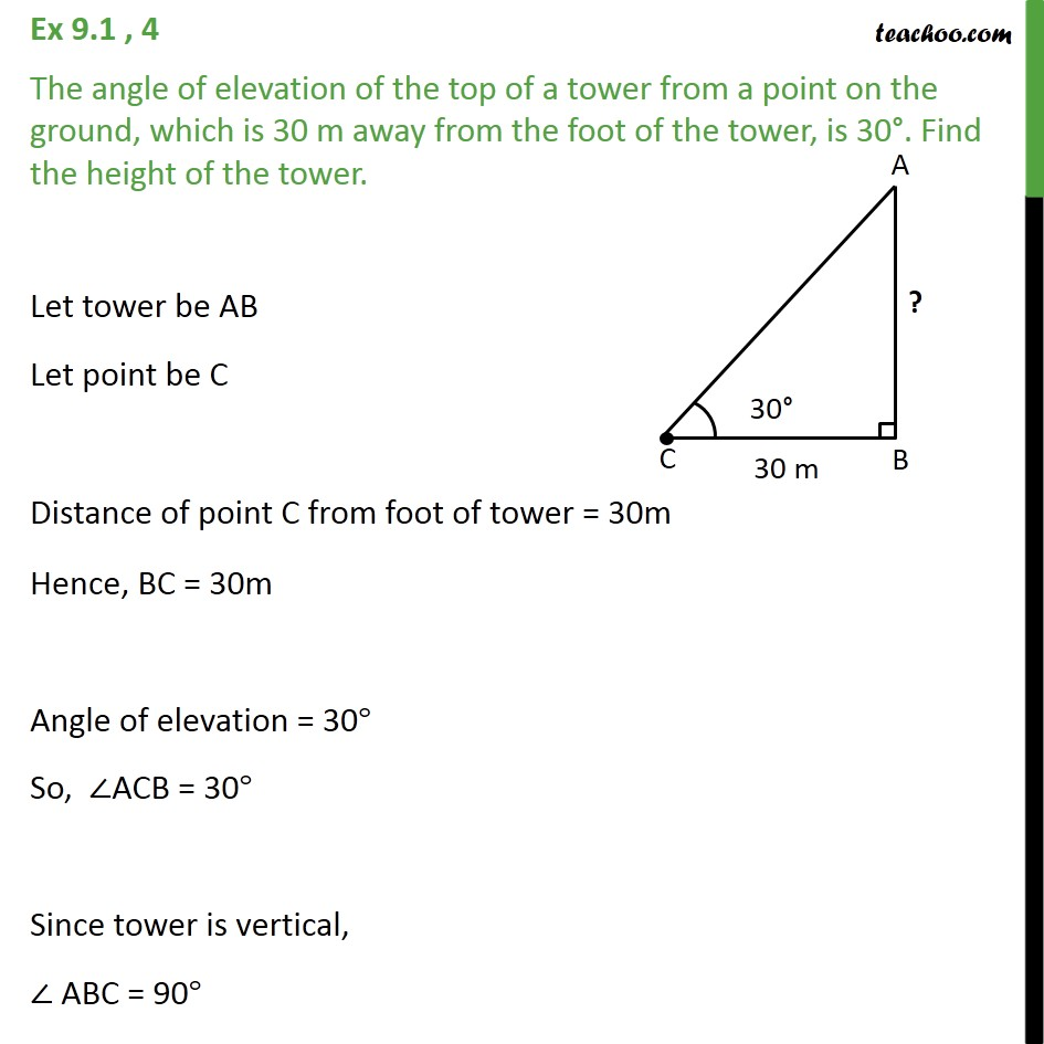 Ex 9.1, 4 - The angle of elevation of top of a tower - Questions easy to difficult
