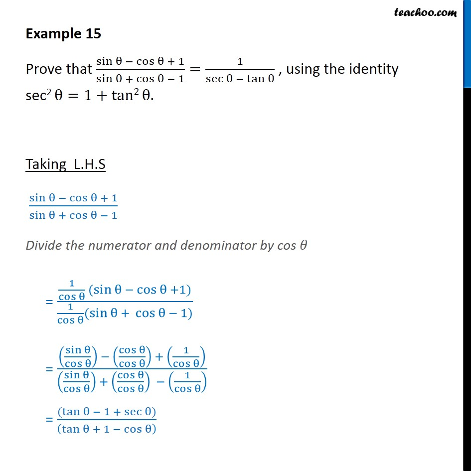 Example 15 - Prove that (sin - cos θ + 1)/(sin + cos - 1) - Examples