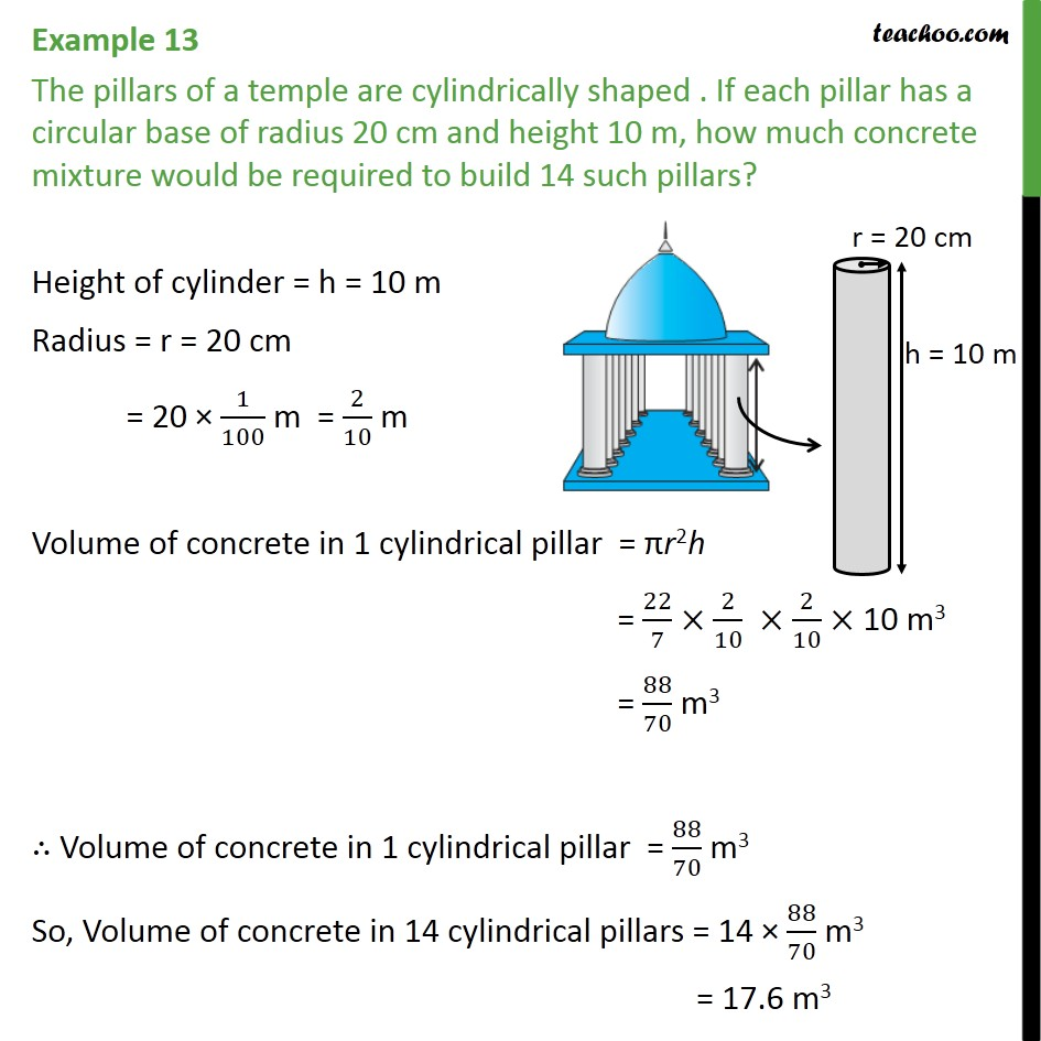 Example 13 - The pillars of a temple are cylindrically shaped - Volume Of Cylinder