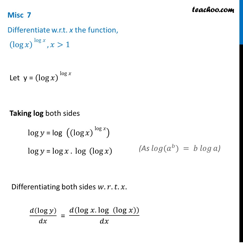 Misc 7 - Differentiate (log x) log x - Chapter 5 Class 12