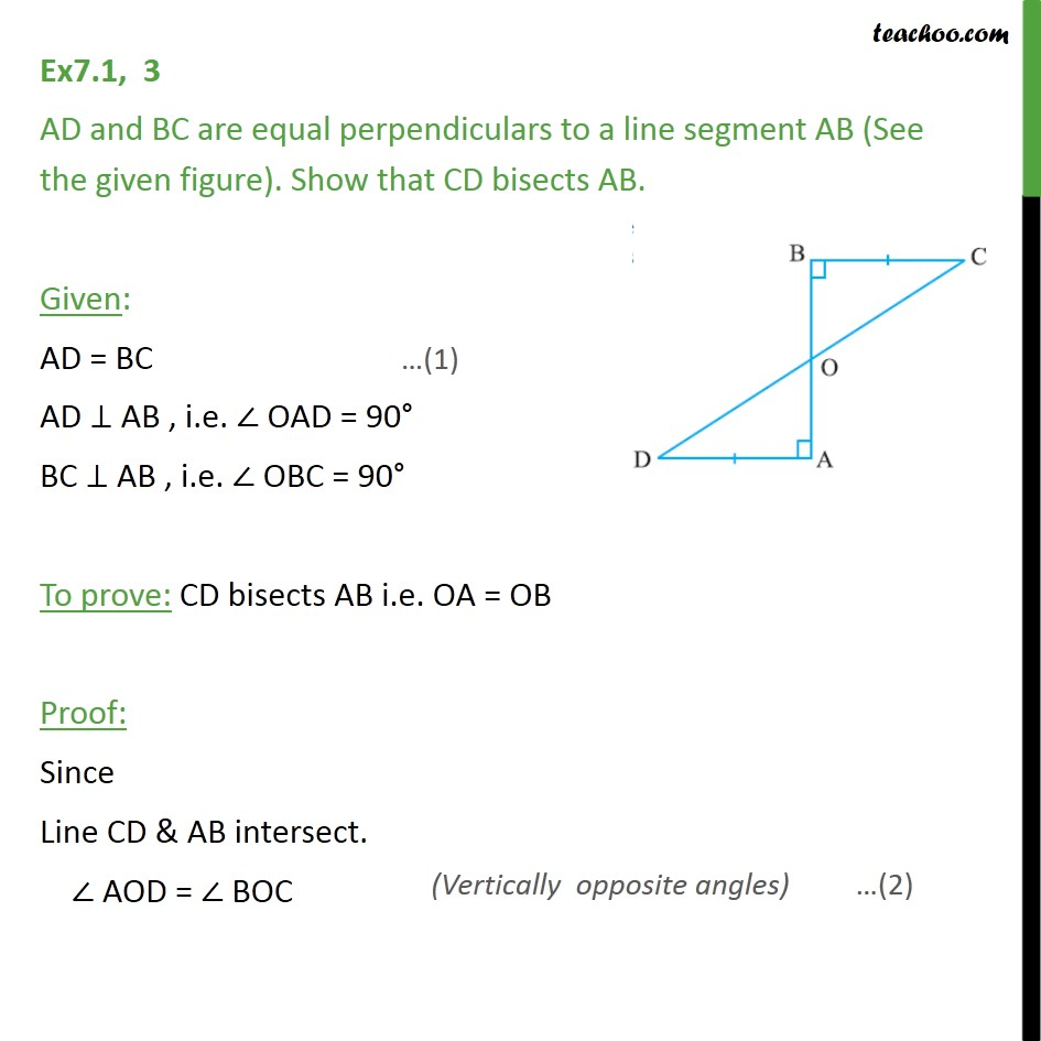 Ex 7.1, 3 - AD and BC are equal perpendiculars to a line - Ex 7.1